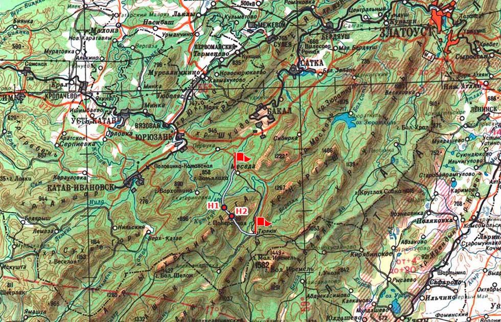 Трек похода по Зигальге: Меседа - Поперечная - Тюлюк