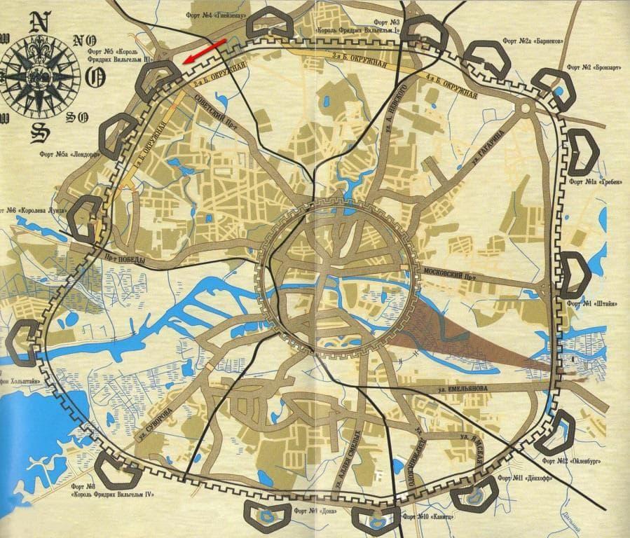 План фортового пояса Кенигсберга