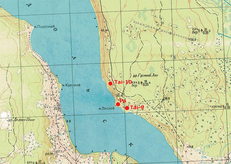 Карта расположения форта Тайпале линии Маннергейма