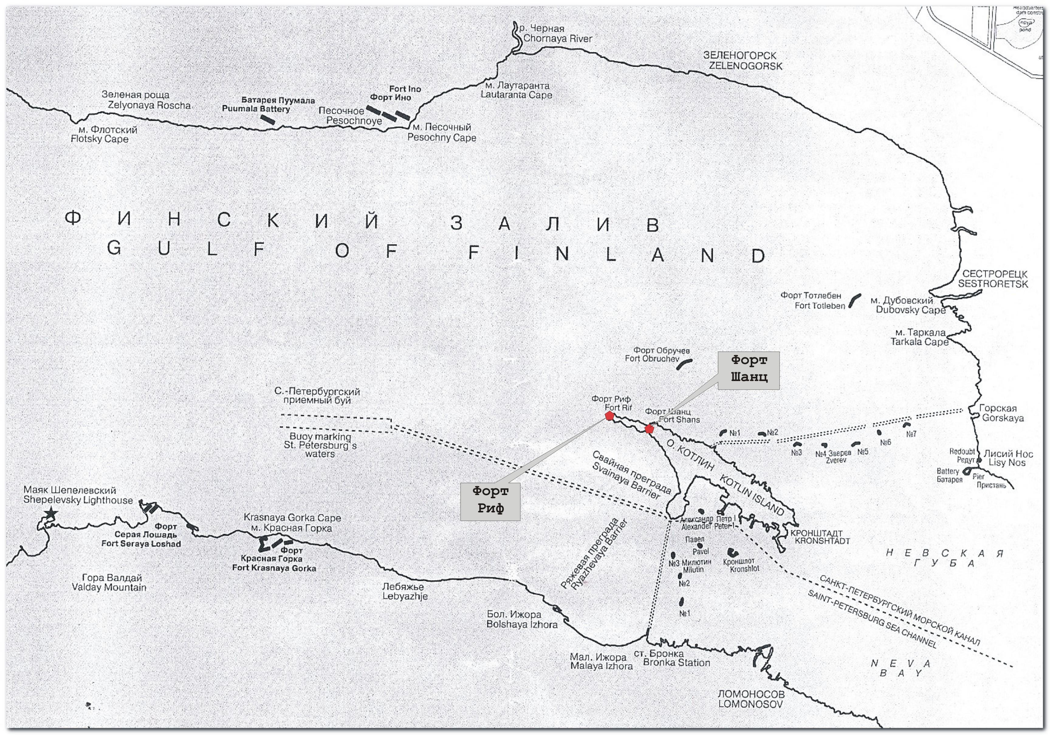 Схема фортов на острове Котлин. Кронштадт