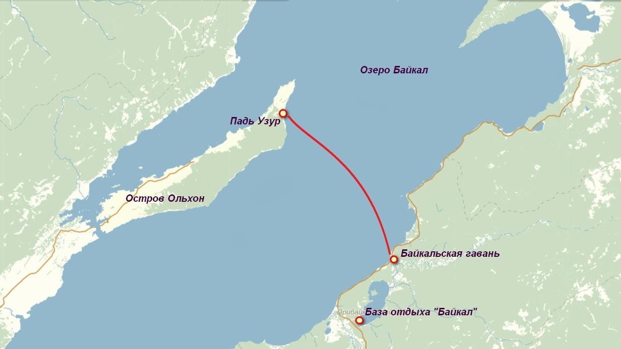 Маршрут парома на остров Ольхон на озере Байкал