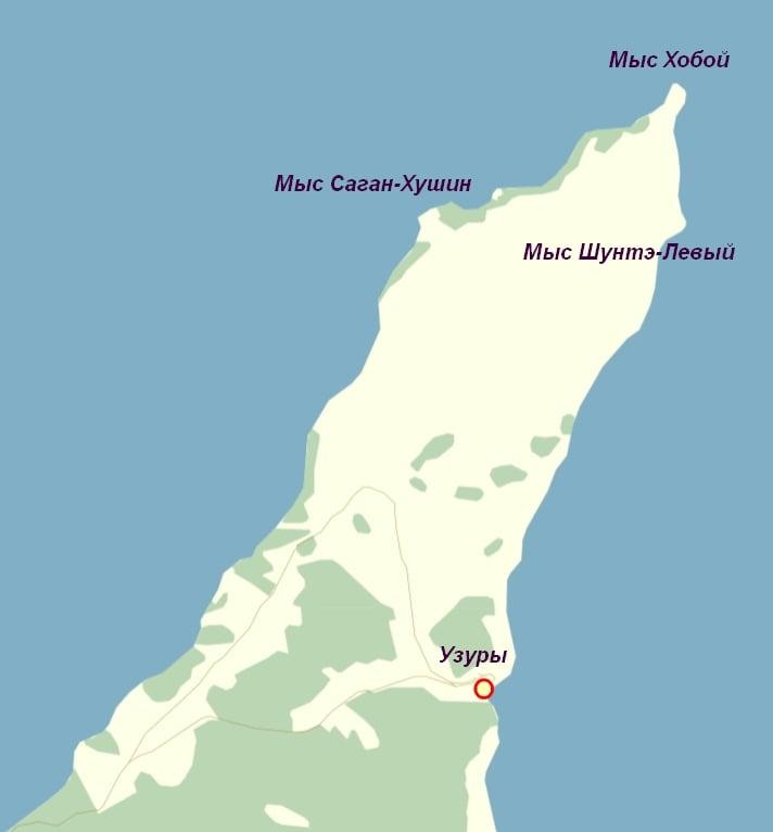 Карта острова Ольхон