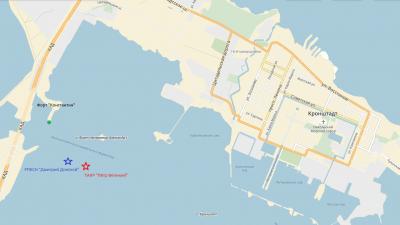 Схема расположения корабля Петр Великий и подводной лодки Дмитрий Донской на рейде Кронштадта