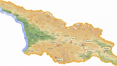Вардзия на карте Грузии