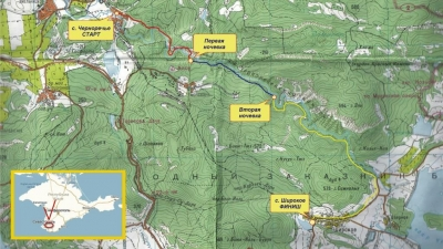 Маршрут похода вдоль Чернореченского каньона