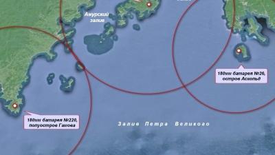 Зоны досягаемости орудий береговых батарей
