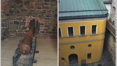 Крепостное орудие и домик коменданта
