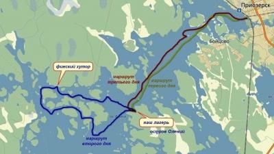 Карта озера Вуокса